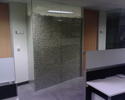 Office filled with packing peanuts