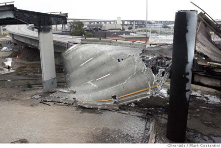 MacArthur Maze Collapse, photo via SFGate