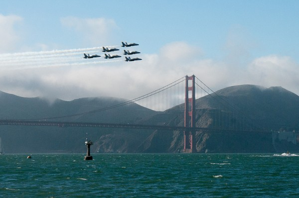 Blue Angels fly by the Golden Gate Bridge